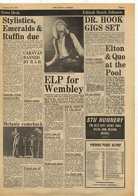 ELP Status Quo Dr Hook MELANIE Vintage Music Press Article/cutting/clipping 1974