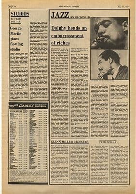 ERIC DOLPHY Vintage Music Press Article/cutting/clipping 1974