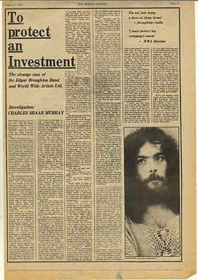 Edgar Broughton Band Vintage Music Press Article/cutting/clipping 1974