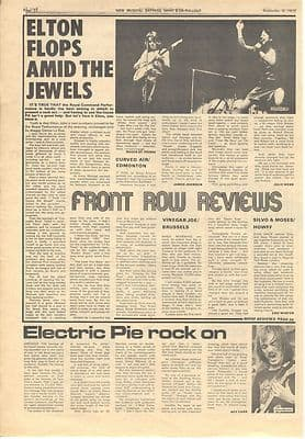 Elton John Curved Air Humble Pie Vintage Music Press article/cutting/clipping 1972