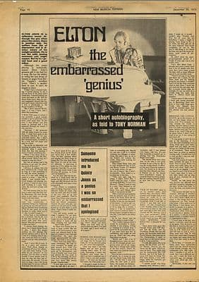 Elton John Interview Vintage Music Press Article/cutting/clipping 1972