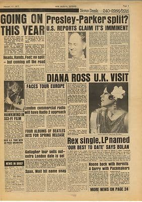 Elvis Presley DIANA ROSS T REX FACES Vintage Music Press Article/cutting/clipping 1973