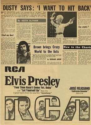 Elvis Presley advert DUSTY SPRINGFIED article Original Vintage music Press cutting/clipping 1968
