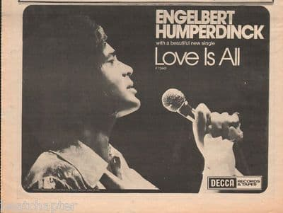 Engelbert Humperdinck Love is all A4 Size 1973 vintage music press advert cutting/clipping