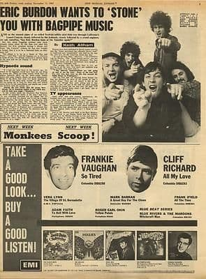 Eric Burdon Interview Vintage Music Press article/cutting/clipping 1967