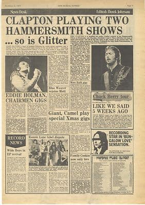 Eric Clapton CHUCK BERRY Concert News Vintage Music Press article/cutting/clipping 1974