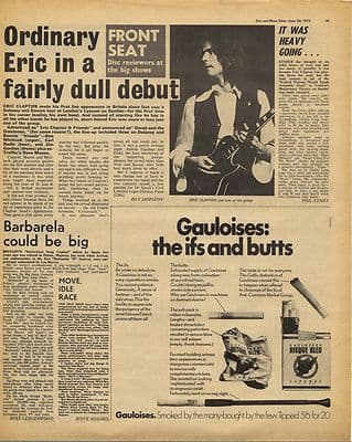 Eric Clapton Concert review Vintage Music Press Article/cutting/clipping 1970