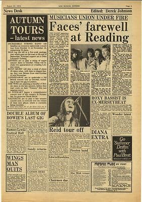 FACES TERRY REID David Bowie Vintage Music Press Article/cutting/clipping 1973