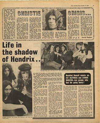 FAT MATRESS ATOMIC ROOSTER CHRISTIE Vintage Music Press Article/cutting/clipping 1970