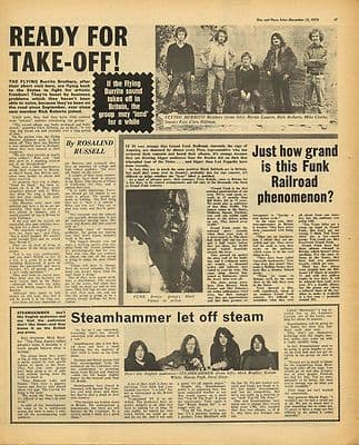 FLYING BURRITO BROTHERS STEAMHAMMER Grand Funk Music Press Article/cutting/clipping 1970