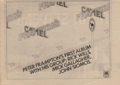 FRAMPTON'S CAMEL A4 Size vintage music press advert cutting/clipping 1973