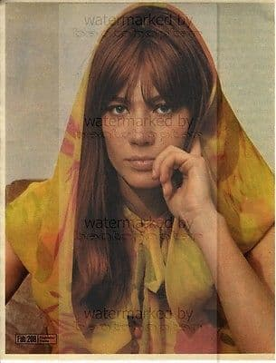 FRANCOISE HARDY size approx 10X13 inch pinup poster size press cutting/clipping 1967