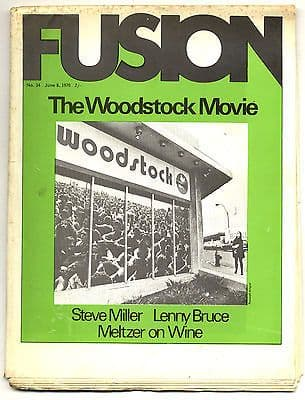 Fusion Magazine No 34 the Woodstock Movie Steve Miller Lenny Bruce 8 June 1970