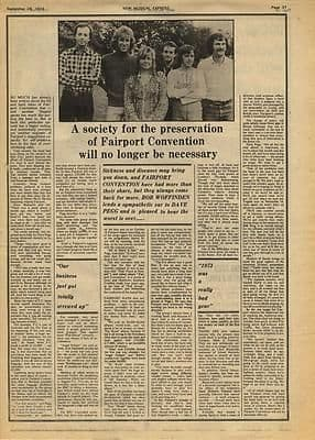 Fairport Convention Interview Music Press article/cutting/clipping 1974