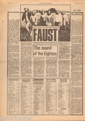 Faust Sound of the eighties Rare original Vintage Music Press Article cutting/clipping 1973