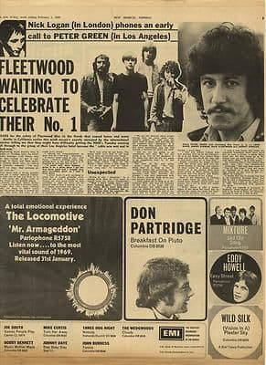 Fleetwood Mac PETER GREEN Vintage Music Press article/cutting/clipping 1969