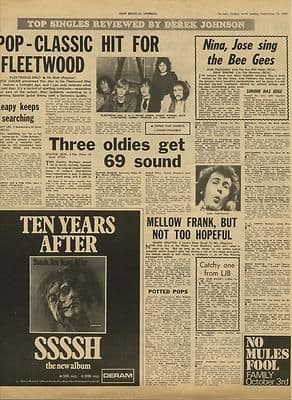 Fleetwood Mac Ten Years After Bee Gees Vintage Music Press article/cutting/clipping 1969