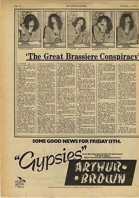 Frank Zappa Brassiere Conspiracy Vintage Music Press article/cutting/clipping 1974