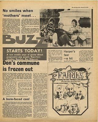 Frank Zappa Donovan ROY HARPER Family Vintage Music Press Article/cutting/clipping 1970
