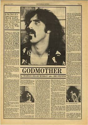 Frank Zappa Godmother Interview Vintage Music Press Article/cutting/clipping 1973