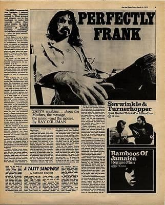 Frank Zappa Interview Vintage Music Press article/cutting/clipping 1970