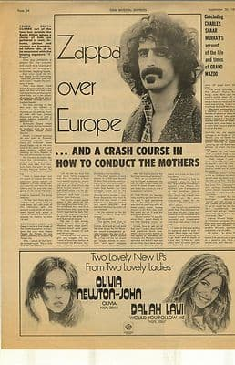 Frank Zappa over Europe Interview Vintage Music Press Article/cutting/clipping 1972
