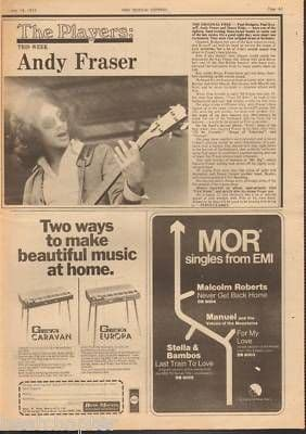 Free ANDY FRASER 1973 0.5 Page original Vintage Music Press Article cutting/clipping