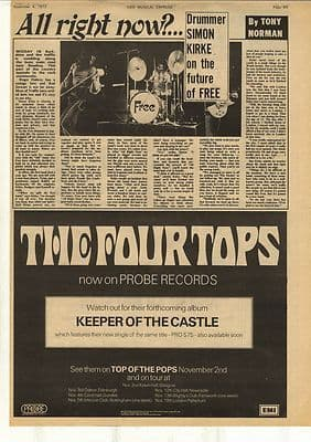 Free All right now? S. Kirke Interview Vintage Music Press Article/cutting/clipping 1972