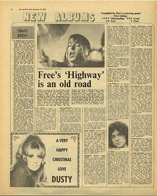 Free Highway LP review Vintage Music Press Article/cutting/clipping 1970
