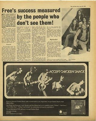 Free article CHICKEN SHACK Advert Vintage Music Press Article/cutting/clipping 1970