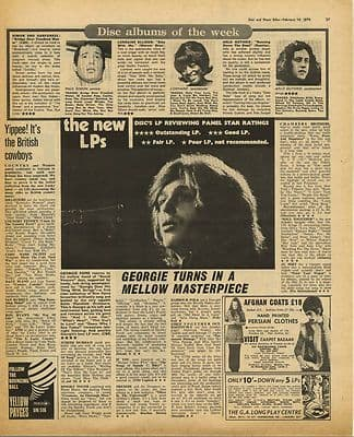 GEORGIE FAME Brief LP Review Vintage Music Press Article/cutting/clipping 1970