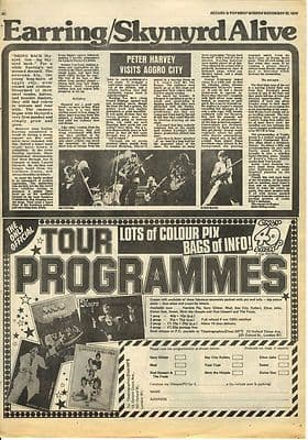 Golden Earring LYNYRD SKYNYRD Live review Music Press article/clipping 1974