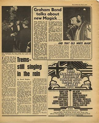 GRAHAM BOND TREMELOES Vintage Music Press Article/cutting/clipping 1971