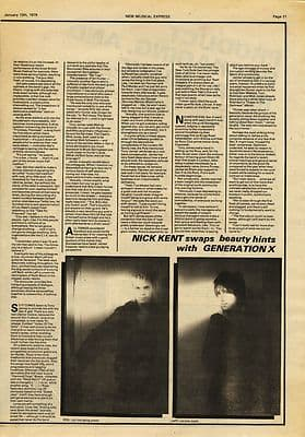 Generation X Interview Vintage Music 2pp Press article/cutting/clipping 1979