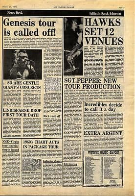 Genesis Hawkwind ARGENT Vintage Music Press article/cutting/clipping 1974