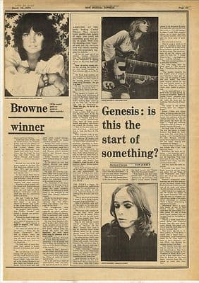 Genesis Peter Gabriel Vintage Music Press article/cutting/clipping 1974