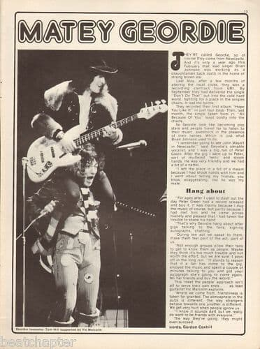 Geordie Full page Music Press cutting/clipping 1973