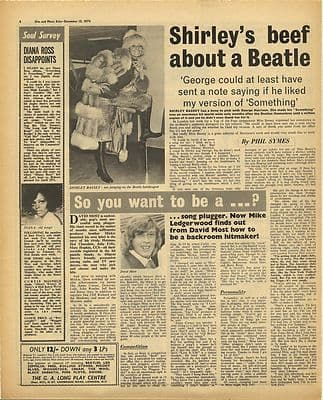 George Harrison SHIRLEY BASSEY Vintage Music Press Article/cutting/clipping 1970