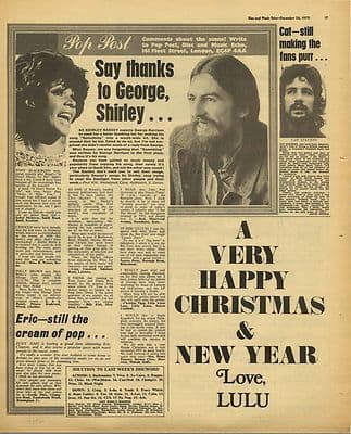 George Harrison article LULU Advert Music Press Article/cutting/clipping 1970