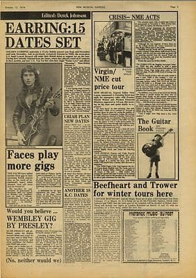 Golden Earring The FaceS Vintage Music Press Article/cutting/clipping 1974