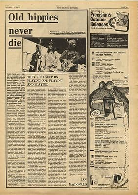 Gong Daevid Allen Old Hippies never die Vintage Music Press Article/cutting/clipping 1973