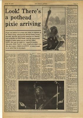 Gong Interview Steve Hillage Tim Blake Vintage Music Press Article/cutting/clipping 1974