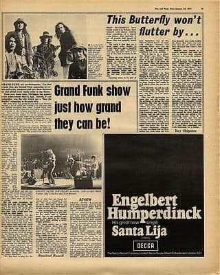 Grand Funk IRON BUTTERFLY Vintage Music Press article/cutting/clipping 1971