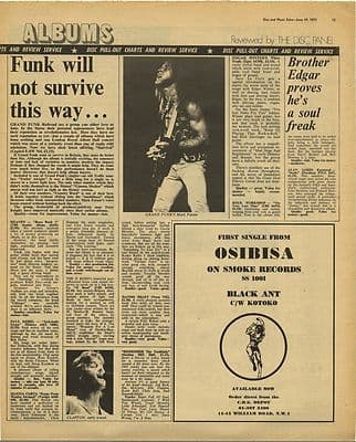 Grand Funk Live Review OSIBISA Advert Vintage Music Press Article/cutting/clipping 1971