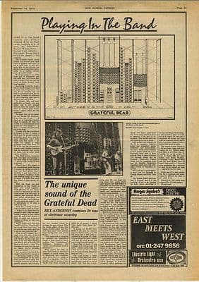 Grateful Dead PA Examined Vintage Music Press article/cutting/clipping 1974