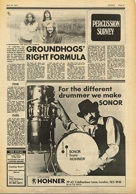 Groundhogs Vintage Music Press Article/cutting/clipping 1973