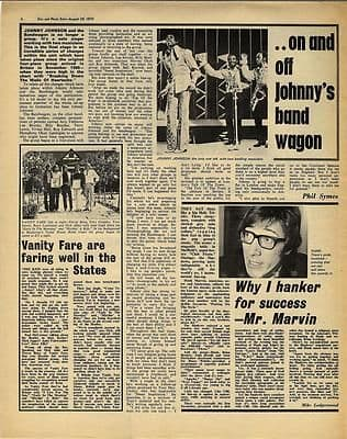 HANK MARVIN JOHNNY JOHNSON VANITY FARE Vintage Music Press article/cutting/clipping 1970