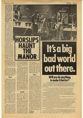 HORSLIPS Haunt the manor Vintage Music Press Article/cutting/clipping 1973