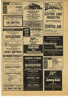 Hawkwind Jimmy Cliff Curved Air Gig adverts Music Press cutting/clipping 1972