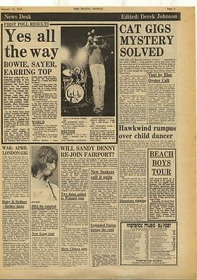 Hawkwind YES CAT STEVENS Vintage Music Press Article/cutting/clipping 1974